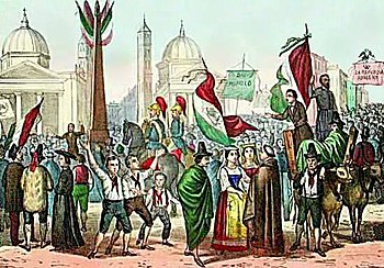 Folk festival at the proclamation of the Roman Republic