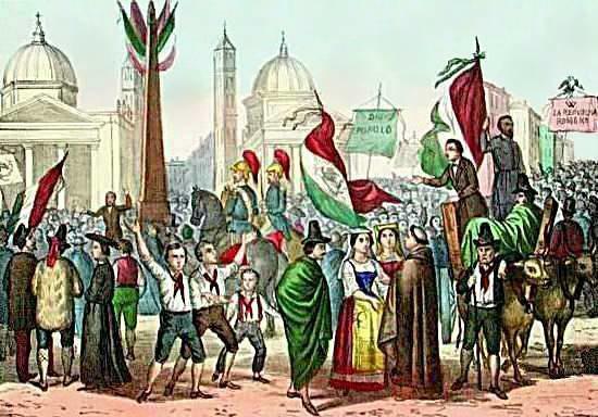 Rossetti - Proclamazione della Repubblica Romana, nel 1849, in Piazza del Popolo - 1861