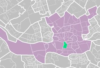 Charlois - Old Charlois (light green) within Rotterdam (purple).