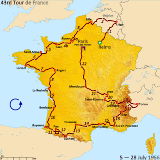 1956 Tour de France - Route of the 1956 Tour de France followed counterclockwise, starting in Reims and finishing in Paris
