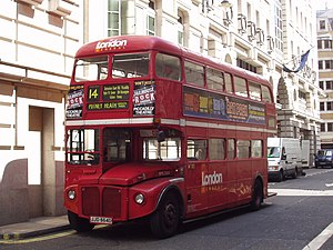 London Buses route 14 - London General AEC Routemaster in Jermyn Street in January 2003