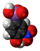 Space-filling model of the roxarsone molecule