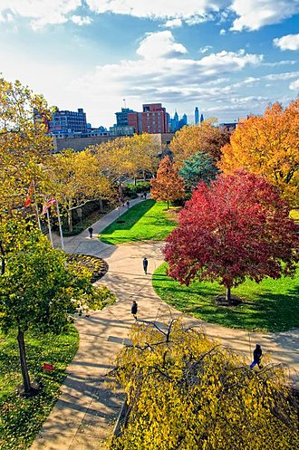 Rutgers University–Camden - View of the Rutgers quad with Philadelphia skyline in background