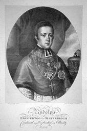 Josef Lanzedelli d. Ä.: Erzherzog Rudolph (Lithographie, 1823) (Quelle: Wikimedia)