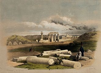 Montu - Image: Ruins of Erment, ancient Hermontis, Egypt. Coloured lithogra Wellcome V0049357
