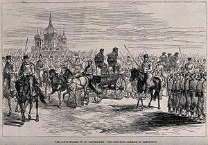 Russian nihilist movement - Russian Nihilists are being tied to chairs on horse-drawn platforms and paraded past groups of soldiers on their way to their execution in St. Petersburg (wood engraving)