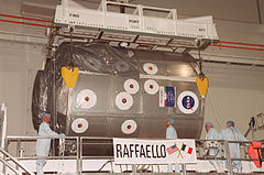 STS-100 MPLM Raffaello is moved to the payload canister.jpg