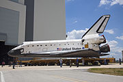 STS-135 Atlantis approaches the VAB