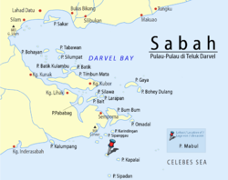 Location of Mabul Island in Darvel Bay
