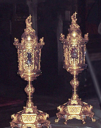 Basilica of Sant'Andrea, Mantua - The Sacred Vessels containing the relic of the Blood of Christ.