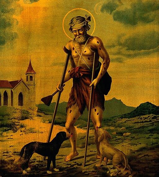 Saint Lazarus. Colour lithograph. Wellcome V0032522