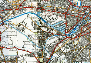 Trafford Park - 1924 map showing Trafford Park almost entirely enclosed by the Manchester Ship Canal and the Bridgewater Canal