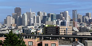 the skyline of downtown San Franciscio, seen f...