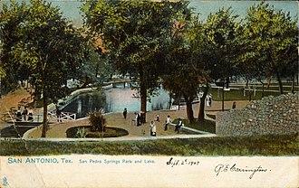 San Pedro Springs - San Pedro Springs Park and Lake, San Antonio, Texas (postcard, circa 1907)