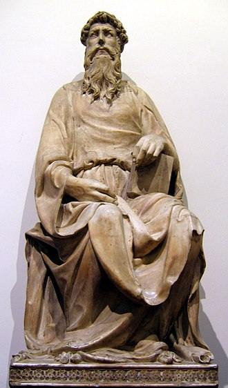 Donatello - In 1409–1411 he executed the colossal seated figure of Saint John the Evangelist.
