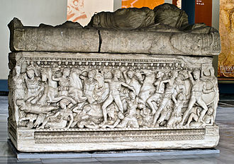 Amazonomachy - Image: Sarcophagus from Salonica