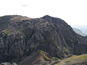 Sca Fell - The Broad Stand route is visible directly across the connecting ridge of Mickledore