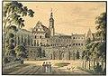 Schloss Grafenort Zamek w Gorzanowie, colorierte Tuschezeichung um 1800.jpg
