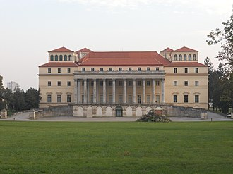 Schloss Esterházy - Modern view of the rear of the palace -- in the end only the central portions of the classical redesign could be completed.