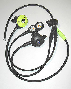 Diving regulator - Diving regulator: First and second stages, low pressure inflator hose and submersible pressure gauge