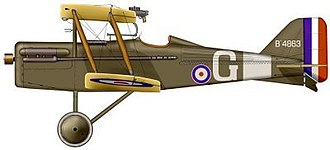 Royal Aircraft Factory S.E.5 - James McCudden's S.E.5a (200 h.p. geared Hispano-Suiza with 4-bladed propellor) of No. 56 Squadron RAF.