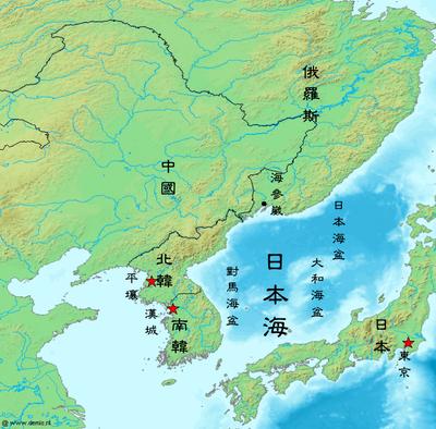 东北亚(部分)地图(俄罗斯远东地区未完全显示)