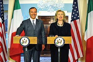 Franco Frattini - Franco Frattini with U.S. Secretary of State Hillary Clinton, in 2011.