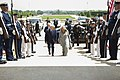 Secretary of Defense Chuck Hagel hosted an honor cordon to welcome Dutch Minister of Defense Jeanine Hennis-Plasschaert at the Pentagon.jpg