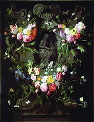 A Garland of Flowers with the Education of the Virgin