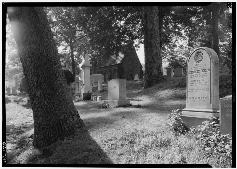 File:September 1969 CHAPEL FROM CEMETERY LOOKING SOUTHEAST - Oak Hill Cemetery, Chapel, 3001 R Street Northwest, Northeast of gatehouse, Washington, District of Columbia, DC HABS DC,GEO,41B-4.tif