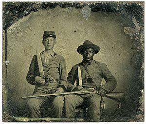 Armies in the american civil war wikipedia sergeant am chandler of the 44th mississippi infantry regiment co f and silas chandler family slave with bowie knives revolvers pepper box publicscrutiny Images