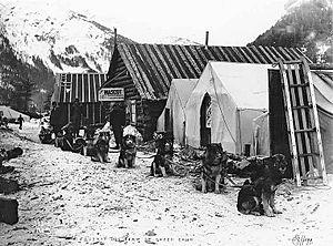 Roadhouse (facility) - Roadhouses along a trail to Klondike, Yukon, 1898