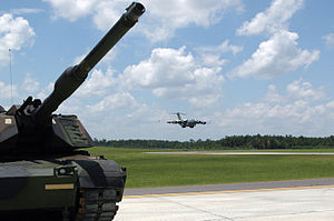 Camp Shelby - A C-17 Globemaster III from the Mississippi Air National Guard's 172d Airlift Wing lands at the new assault training runway at Camp Shelby on July 9, 2007
