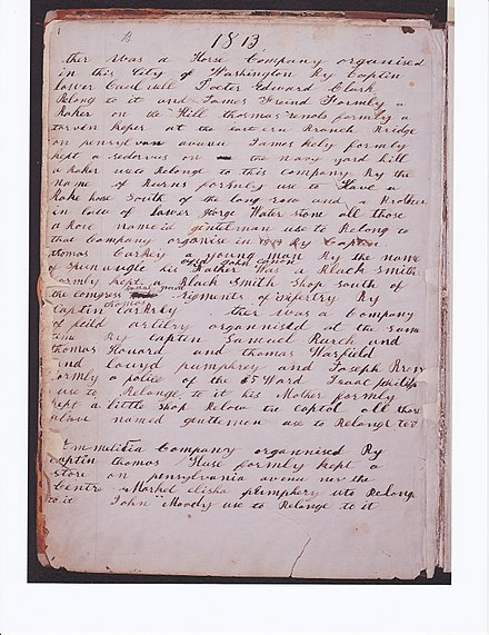 "First page of Michael Shiner's Diary, p.1. 1813.Library of Congress. Militia officer, Lloyd Pumphrey was related to slaveholder William Pumphrey, who first placed Shiner at the navy yard. Thomas Howard was an officer in the District of Columbia militia and ""clerk of the yard"" In 1828 Howard purchased Shiner for $250.00 as ""term slave"" from William Pumphrey's estate. Shiner diary page1 color b.jpg"