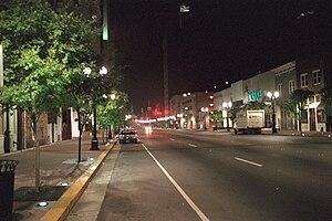 History of Shreveport, Louisiana - Downtown Shreveport at night, showing Streetscape-enhanced sidewalks.