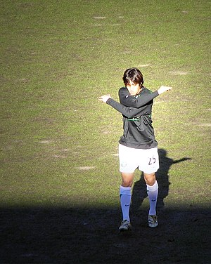 Shunsuke Nakamura - Nakamura warming up ahead of Celtic's clash with Dundee United on 6 August 2005