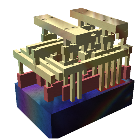 Rendering of a small standard cell with three metal layers (dielectric has been removed). The sand-colored structures are metal interconnect, with the vertical pillars being contacts, typically plugs of tungsten. The reddish structures are polysilicon gates, and the solid at the bottom is the crystalline silicon bulk. Silicon chip 3d.png