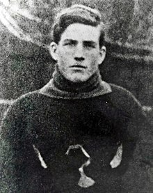 Silver Quilty in football uniform, circa 1907 to 1914