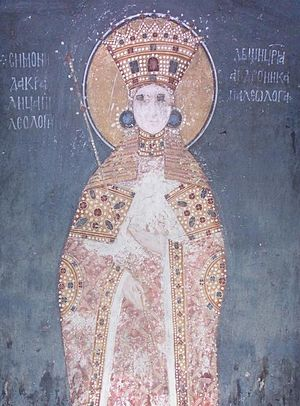 Simonida - Queen Simonida of Serbia, a fresco from Gračanica monastery