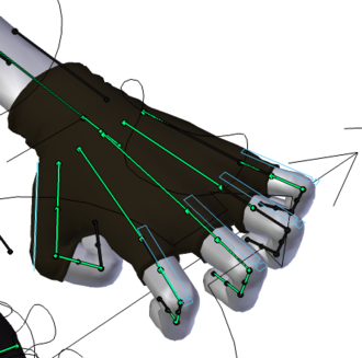 Skeletal animation - 'Bones' (in green) used to pose a hand.  In practice, the 'bones' themselves are often hidden and replaced by more user-friendly objects.  In this example from the open source project Blender, these 'handles' (in blue) have been scaled down to bend the fingers.  The bones are still controlling the deformation, but the animator only sees the 'handles'.