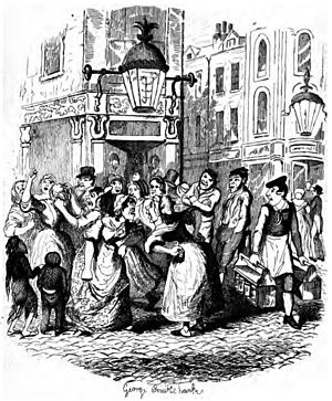 Seven Dials, London - Seven Dials around 1836: illustration by George Cruikshank in Dickens' Sketches by Boz