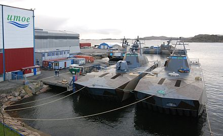 Umoe Mandal is the municipality's new cornerstone, with the production of mostly military vessels, like these Skjold class patrol boats. Skjold class 17 jan 08.jpg