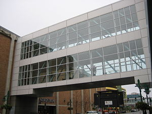 Anchorage 5th Avenue Mall - Two-story skyway above Sixth Avenue connects the mall with Nordstrom.