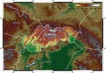 Mappa topografica della Slovacchia.