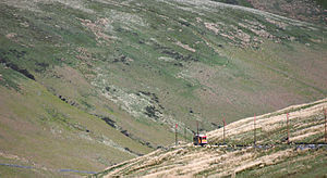 Snaefell Mountain Railway - Mountain view (tram in distance)