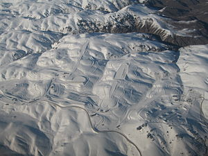 Snow Farm, New Zealand - An aerial of Snow Farm on the left and the Southern Proving Grounds on the right.