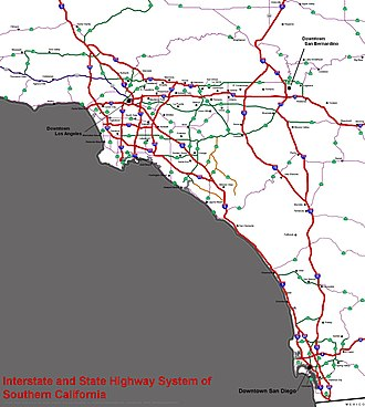 Southern California freeways - Interstate and State Highway System of Southern California