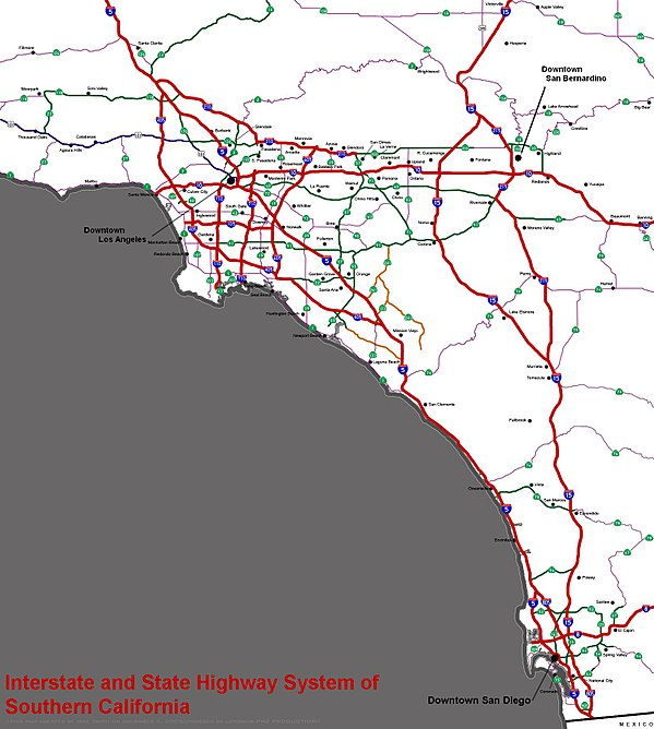 Interstate and state highway system of Southern California SocalfreewaysystemWIKI.jpg