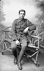 Soldier sitting on rustic bench