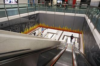"""Admiralty station (MTR) - Art Work """"Sense of Green"""" located between Level L5 and L6"""